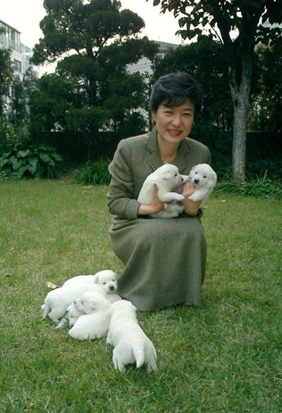 개를 안고 있는 박근혜 후보의 모습. 인간미 넘치는 미소를 보라!