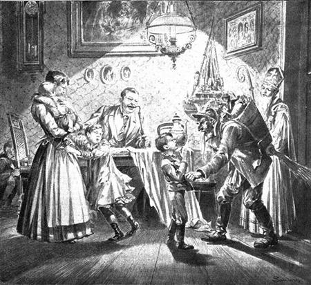 평범한 유럽 가정의 크리스마스. 이 때는 아이들을 강하게 키웠다.