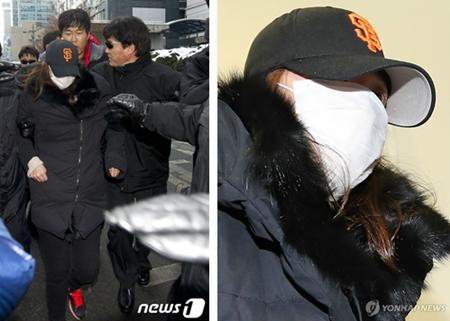 2012년 12월 13일 셀프감금 되어있던 오피스텔에서 빠져나 온 직후 검찰에 소환되는 국정원녀