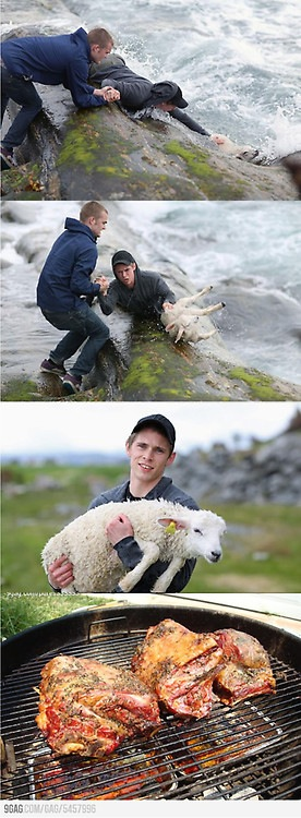 물 속에서 양을 구한 뒤 바베큐를 해 먹는 내용