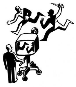 카메라가 칼 든 사람과 도망치는 사람을 뒤바꾸어 보도하는 그림.