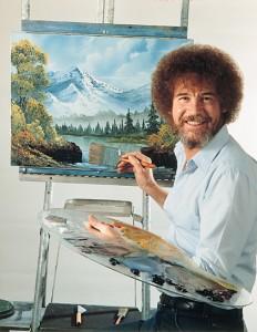 밥 로스가 그림을 그리고 있다