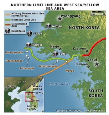 녹색선이 NLL이고 노란선이 북한이 99년에 제안한 해양경계선이다