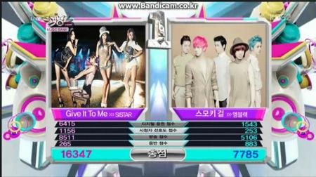 6월 28일 뮤직뱅크 1위 산정 점수 – 씨스타 음원점수 ㄷㄷ 해