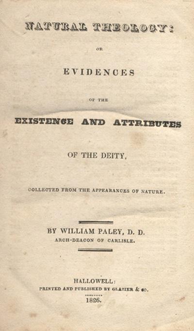 윌리엄 페일리의  초판 표지. 당시 굉장히 큰 반향을 불러일으킨 책 중 하나다.