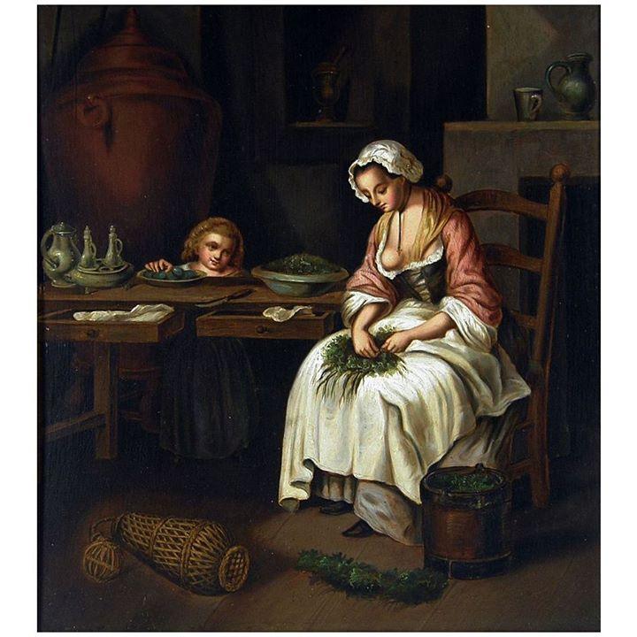전형적인 19세기의 Kitchen Maid를 묘사한 그림