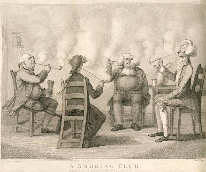 """1859 년의 흡연자들 """"A Smoking Club"""" - An illustration included in Frederick William Fairholt's Tobacco, its history and associations."""