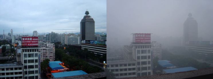 (2005 년 평상시의 베이징 시 (좌측) 과 스모그 상태인 베이징 시 (우측) 의 모습. http://en.wikipedia.org/wiki/File:Beijing_smog_comparison_August_2005.png )