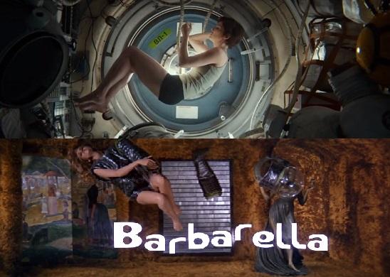 ▲  '그래비티'가 영화 '바바렐라'의 한 장면을 차용한 부분. ⓒ 영화 '그래비티'와 영화 '바바렐라'