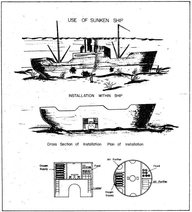 [해저에 착저한 상선을 이용한 후쿠류(伏龍) 대원들의 기지, 어뢰 발사관도 장비할 계획이었다고 한다.]