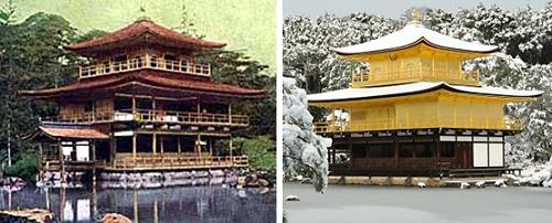 복원 전후의 금각탑, 복원된 금각탑은 금빛이 너무 찬란하여 논란이 많았다.