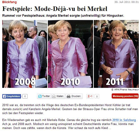 ▲ 같은 행사에 3년 동안 같은 의상을 입고 등장한 메르켈 총리. ⓒ society24