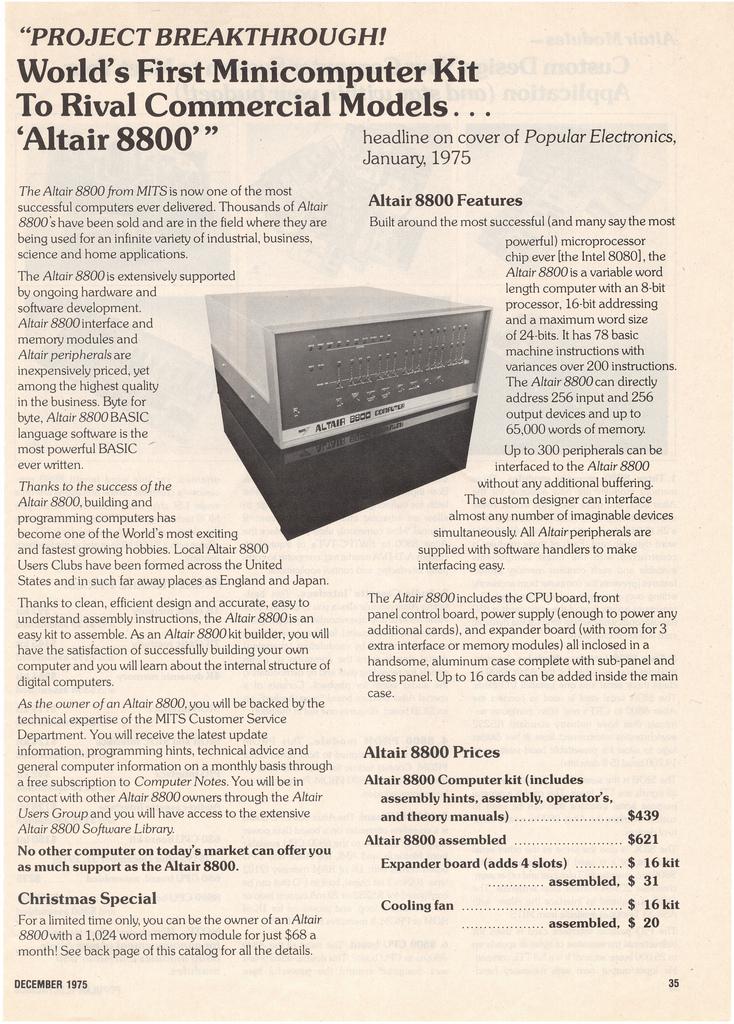 'Popular Electronics'에 실린 알테어 8800 광고. 1975년. (*출처: http://www.flickr.com/photos/splorp/6551362547/)