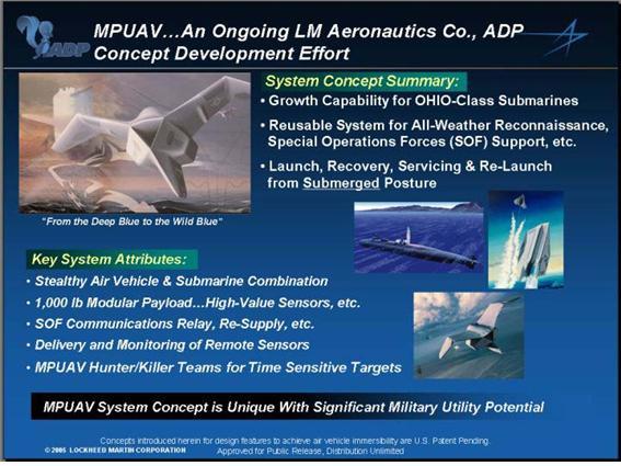 록히드 마틴의 코모란트 UAV. 잠수함의 VLS로부터 발사된다