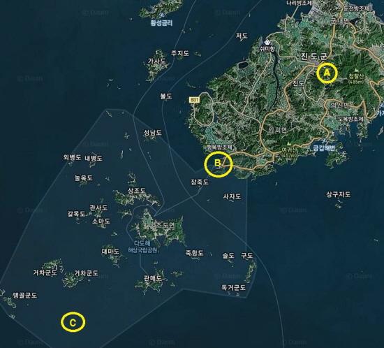 ▲ 지도에 표시된 A는 진도군 실내체육관, B는 팽목항, C는 사고 지점으로 추정되는 곳이다. 실내체육관에서 팽목항까지 직선거리는 약 17km, 팽목항에서 사고지점까지 직선거리는 약 25km다. ⓒ '다음' 지도캡쳐