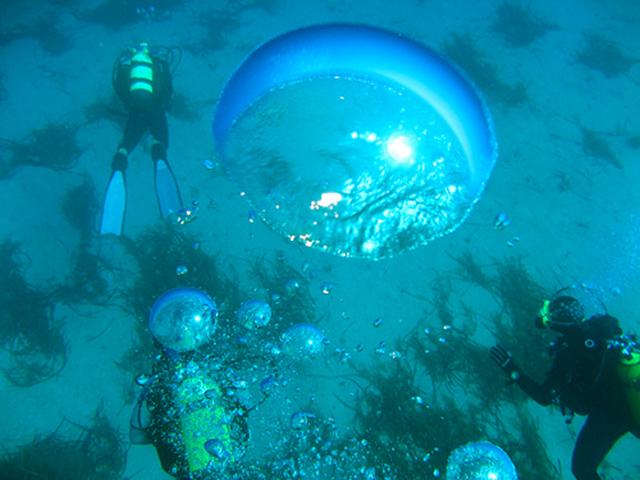수면으로 상승하면서 커지는 공기방울 (이미지 출처: http://aquaviews.net/wp-content/uploads/2009/06/Dive-Bubbles.jpg )