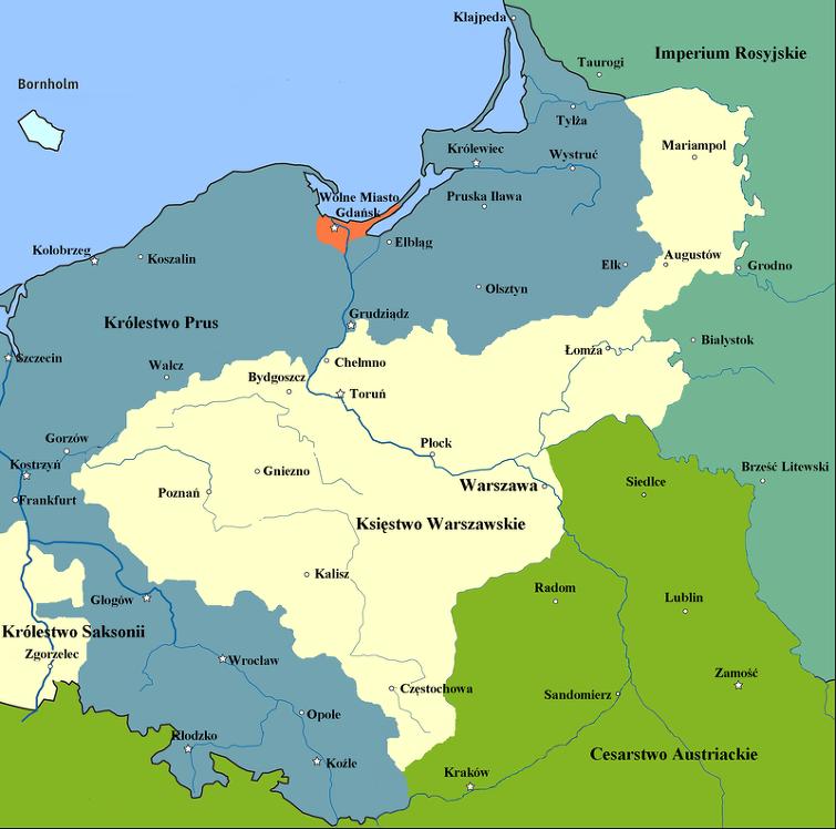 (1807년 당시 막 수립된 시기의 바르샤바 공국의 지도입니다. 바르샤바를 포함한, 중앙의 크림색 부분의 땅입니다. 1809년 제5차 대불동맹전쟁 때 바르샤바 공국을 침공한 오스트리아에 맞서 전쟁을 벌인 결과, 오히려 오스트리아 영토를 일부 점령하여 영토가 좀더 커지게 됩니다.)