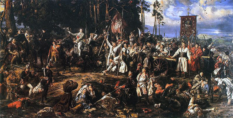 1794년 코시우스코 봉기 때의 모습입니다. 농민 복장의 폴란드 병사들과 그들의 손에 들린 낫 같은 조잡한 무기들을 보십시요.