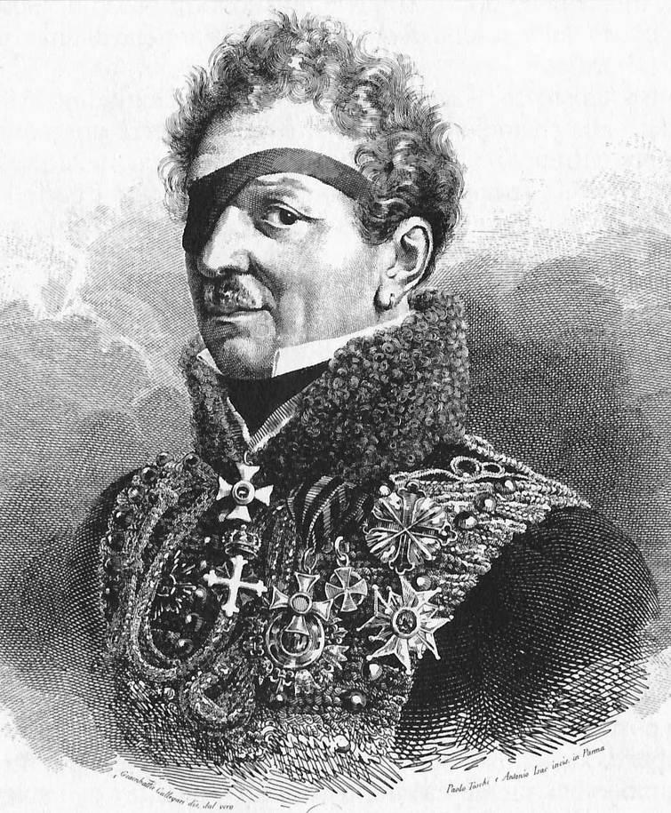이 패기있어 보이는 애꾸눈 장군이 나이페르크입니다. 처음부터 마리 루이즈가 나폴레옹과 합류하지 못하도록 마리 루이즈를 잘 달래라는 지시를 받았던 그는 시작부터 1년 안에 나폴레옹의 와이프를 내 여자로 만들겠다고 공언을 했습니다. 그러나 실제로는 마리 루이즈는 그렇게 오래 기다리지도 않고 곧장 이 장군의 애인이 되었습니다.