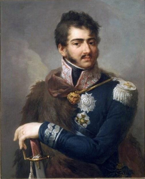 포니아토프스키 왕자의 모습입니다. 이 양반의 아버지는 폴란드 왕족이었고 어머니는 오스트리아 귀족으로서, 태어난 곳도 비엔나였고 군 생활은 오스트리아 장교로서 시작했습니다. 그러다가 삼촌인 스타니슬라브 2세의 영향을 받아 폴란드로 국적을 정하고 활약했습니다. 그러다가 나라가 망하는 봉변을 당했지요. 이 양반은 1809년 오스트리아-폴란드 전쟁에서 공을 세워 프랑스 군의 원수직까지 맡게 되는데, 나폴레옹 휘하의 원수 중 외국인은 이 양반이 유일했습니다.