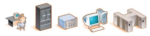 2000년을 전후해서 찾아낸 3Com 네트워크 아이콘들. 좌측으로 15도 기울어져 있어 입체적인 도면을 그려내기 아주 적합한 그림들이었다
