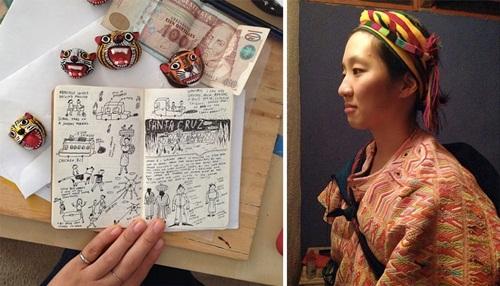 과테말라 여행 노트와 전통의상을 입고 있는 이나작가