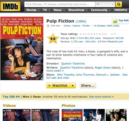 IMDb는 영화, 방송, 게임 콘텐츠의 정보를 제공하는 온라인 데이터베이스이다 (이미지 출처: http://www.imdb.com/title/tt0110912/)