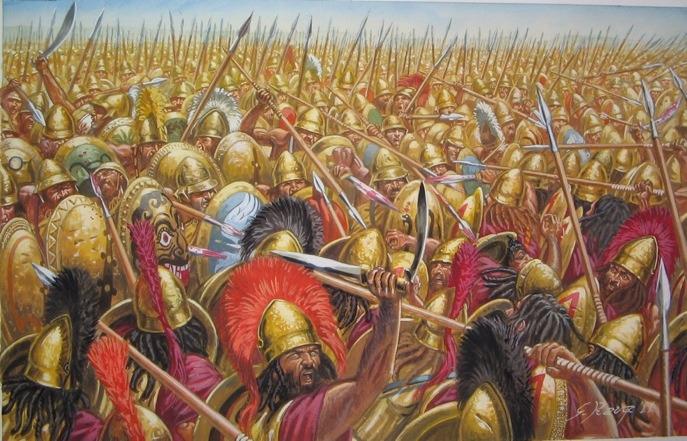 당시 그리스 군 전법은 매우 단순하여, 중장보병의 밀집 대형, 즉 phalanx들끼리의 충돌에서 어느 쪽이 체력적으로 또 정신적으로 더 우세한가를 겨루는 것이었습니다. 어떻게 보면 미식 축구의 스크럼 싸움과 비슷했지요.