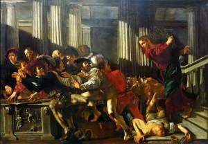 제가 알기로는 예수님이 물리적인 폭력을 사용하신 것은 권력을 이용하여 성전에서 경제적 독점권을 취하던 이들을 내쫓을 때 뿐이었습니다.