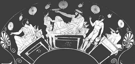 (전형적인 그리스의 만찬 모습입니다. 술잔이 납작한 것이 특징인데, 굳이 스파르타가 아니더라도 그리스 사람들의 식탁은 그다지 풍성한 편이 못 되었습니다. 그리스 인들의 식사에 대해서는 고대 그리스 시대 병사들의 군량 http://blog.daum.net/nasica/6862409 참조)