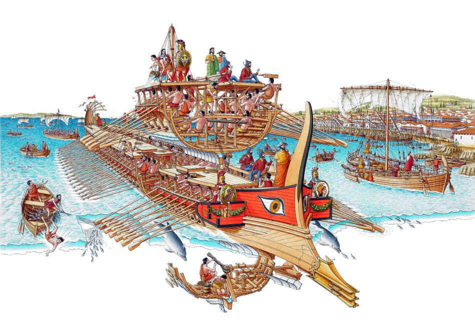 당시 그리스의 주력 군함이던 3단 노선 trireme의 구조입니다. 선체 크기에 비해 승무원 수가 너무 많았으므로, 밤에 잘 때나 식사할 때는 바닷가에 정박해야 했고, 또 선체가 가벼워야 했으므로 그만큼 선체 강도가 약하여, 먼 바다를 항해할 때는 사용하기가 곤란했습니다.