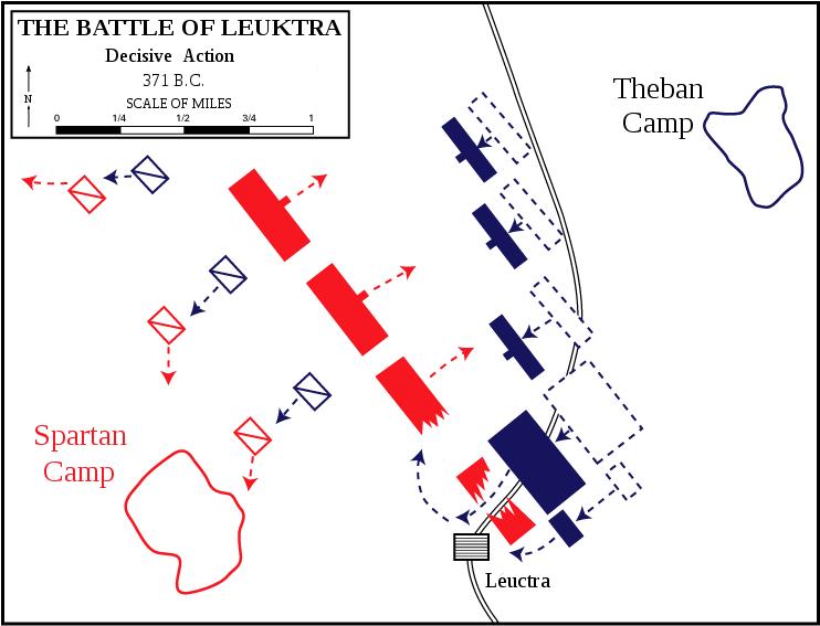 레욱트라 전투에서, 테베의 제갈공명 에파미논다스는 당시 그리스 중장 보병 전술의 약점을 교묘히 이용한 사선 방식의 전열을 이용하여 더 적은 병력으로도 무적이라는 스파르타 군을 격파해내는 기염을 토합니다. 그러나 이 전투에는 또다른 비밀이 있었지요.