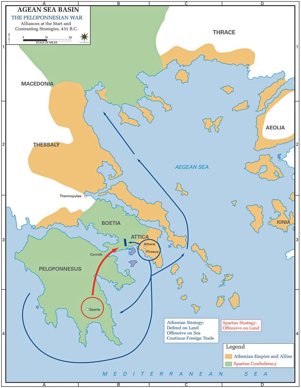 이 지도가 보여주는 양상이 초기 펠로폰네소스 전쟁의 전형적인 모습입니다. 아테네와 그 외항인 피라에우스 항구 사이의 긴 회랑은 긴 장벽으로 완전 요새화되어 있어서, 제해권이 없다면 아테네를 제압하는 것은 불가능했습니다. 특히 아테네의 곡물 수입로인 헬레스폰트 해협, 즉 현재의 이스탄불이 있는 터키 지방의 확보가 매우 중요했지요. 그래서 전쟁은 그쪽 지방에서도 치열하게 벌어집니다.