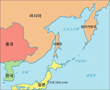 ▲ 사할린은 홋카이도 바로 위에 있는 러시아의 작은 섬이다. 일본에서는 '화태'라 부른다.