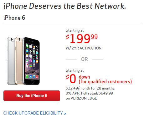 미국 통신사 버라이즌의 아이폰 판매 페이지. 약정시 판매가격이 가장 눈에 띄는 자리에 표시되어 있다.