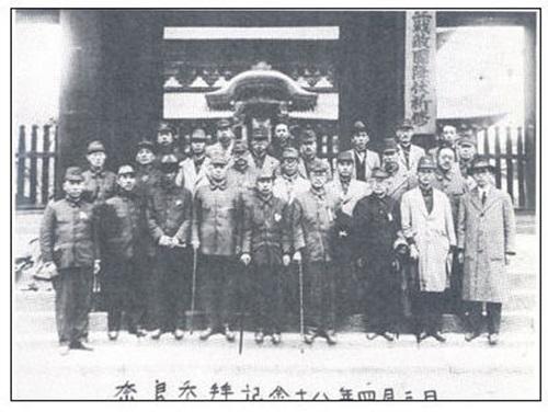 ※1938년 9월10일 대한예수교장로회총회는 신사참배를 결의했다. 사진은 1943년 4월3일 한국교회 지도자들이 일본 나라신궁을 참배하고 찍은 기념사진 [출처-민족문제연구소]