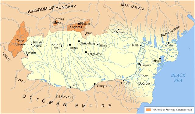 약 60년 전인 1390년 당시의 왈라치아 영지입니다.