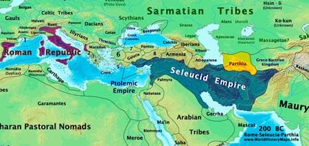 로마는 동진하고 파르티아는 서진해 셀레우코스 제국을 분할 점령하면서 두 제국은 700년이 넘는 분쟁을 겪게 됩니다.