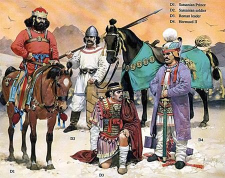 호르미즈드 2세가 로마군 지휘관을 포로로 잡은 모습입니다.