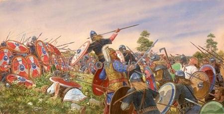 율리아누스와 서로마군이 기원후 357년 스트라스부르크에서 게르만족을 상대하고 있습니다.