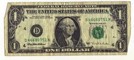 (이건 평범한 1달러 지폐입니다. 왼쪽 위를 보면 작은 글씨로 This note is legal tender 라고 씌여있지요.)