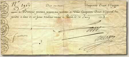 (존 로가 발행한 지폐입니다. 존 로의 자필 서명이 들어있긴 하지만... 아주 성의가 없네요...)