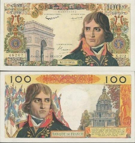 (유로화 이전의 프랑스 100 프랑짜리 지폐입니다. 나폴레옹은 지폐에 나올 자격이 충분하고도 남는다고 할 수 있지요.)