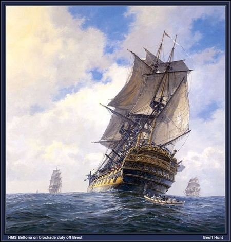 (Aubrey 시리즈에 나오는 74문 전열함인 HMS Bellona 입니다. 요즘의 이지스 구축함에 비하면 훨씬 싼 편이지요.)