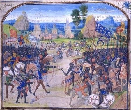 (1356년 벌어진 프와티에 전투입니다. 여기서 장 2세가 포로가 되는 바람에 그 몸값 지불을 위해 프랑스의 프랑화가 탄생했습니다.)