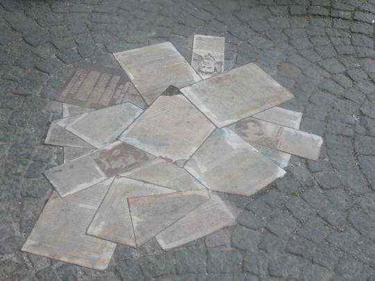 뮌헨 대학에는 바닥에 뿌련진 백장미단의 전단지들을 조각한 조각이 있다.