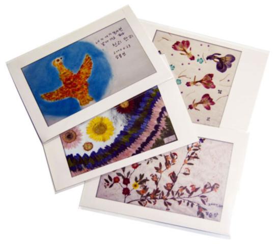 일본군 '위안부' 심달연 할머니 등이 그린 그림으로 만든 엽서. (사)정신대 할머니와 함께하는 시민 모임의 브랜드 '희움'이 제작한 상품이다. 나는 이 엽서를 학교 축제 때 역사동아리 아이들에게서 샀다.