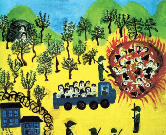 """위안부 피해자 강일출 할머니가 2001년 나눔의집 미술심리치료과정에서 그린 작품이 '태워지는 처녀들'이다. 할머니는 """"일본군은 위안소에서 질병에 걸린 소녀들을 산 채로 불태웠다""""고 증언했다. ⓒ 제이오엔터테인먼트 제공"""