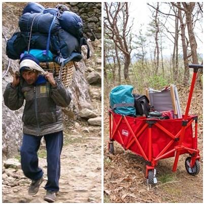 짐을 줄이지 못하겠다면, 캠핑 웨건을 사용해보자. 셰르파 신세를 면하게 해준다.