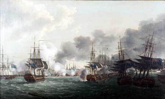 당시 코펜하겐 전투에서 전열에 합류하지 못하고 좌초된 벨로나 호와 러셀 호가 맨 오른쪽에 보입니다.